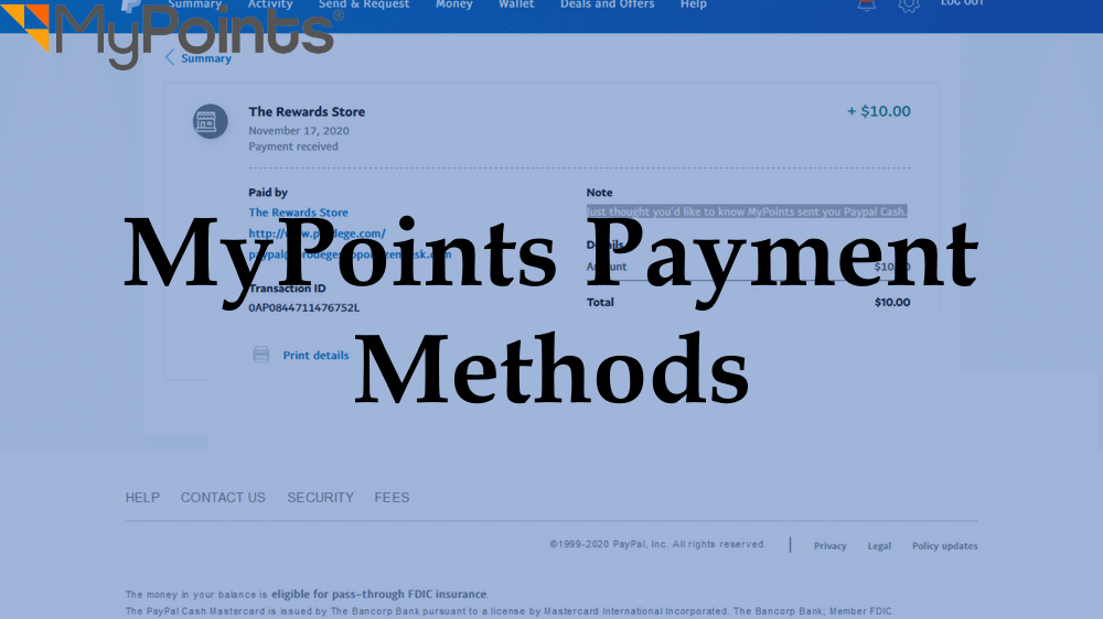 MyPoints Payment Methods